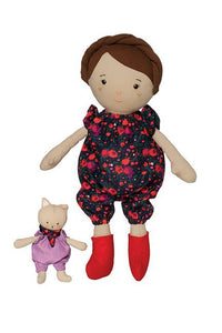 Freddie and her Kitty - 2pc Cuddle & Carry Doll Set, Hispanic Biracial
