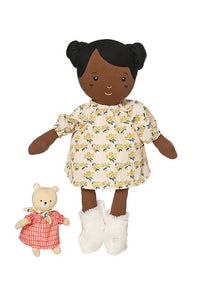 A cute, baby safe Black Rag Doll and her own little teddy bear