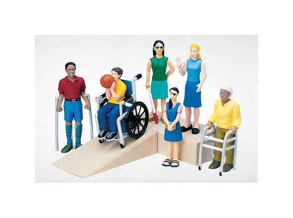 Set of 6 doll house diversity dolls each with a different disability includes doll in wheelchair and more