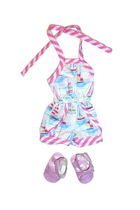 For 14.5 Inch Dolls: Summer Breezes! Sailboat Print Romper and Sandals