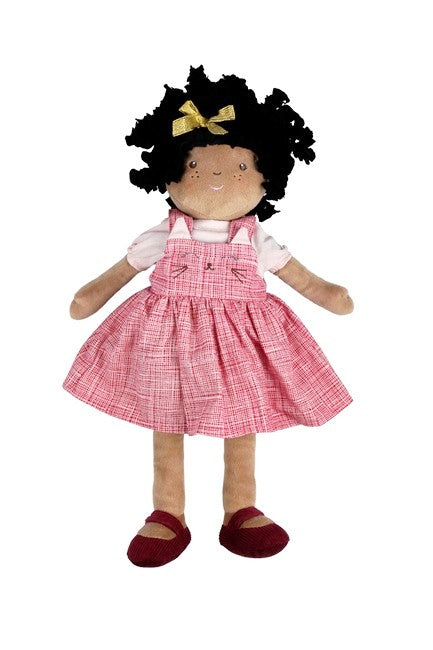 A beautiful African American Girl rag doll with hair in twists