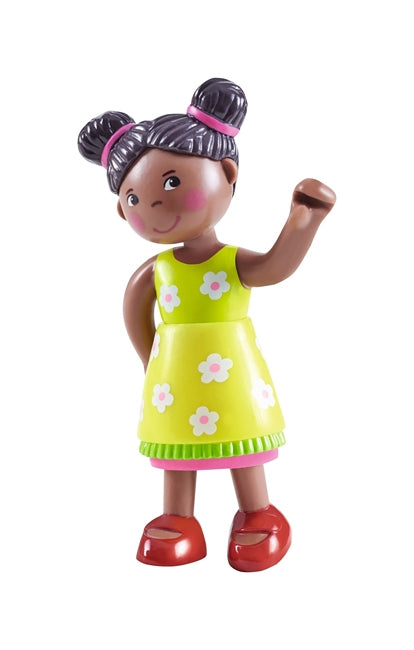 Naomi, a black girl dollhouse doll from HABA's Little Friends Collection
