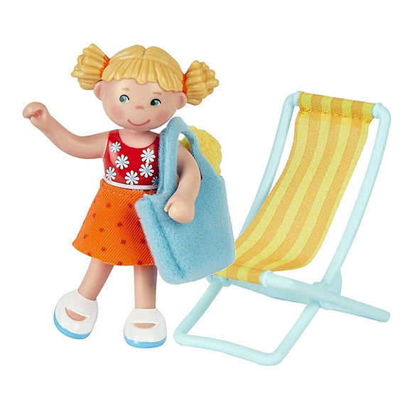little Friends Tina a dollhouse doll from haba comes ina 4 piece set including beach scene diorama and beach accessories