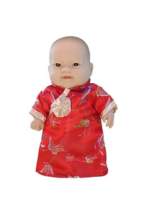Asian Lots to Love all vinyl baby doll dressed in hand made doll's cheongsam