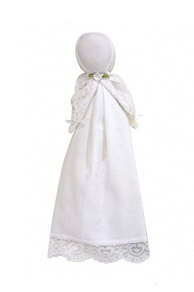 Loving Lace baby's doll, keepsake doll and lovey. Helps to quiet baby in church and then becomes her handkerchief at her wedding