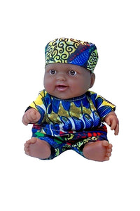 A Black lots to love baby boy doll dressed in African inspired dashiki