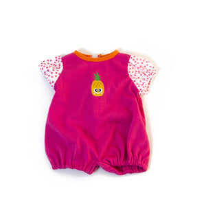 For 15 inch Dolls: One Piece, Easy-on Romper, Pineapple on Pink