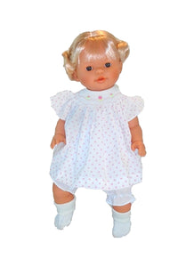 Classic 15 inch children's baby doll with blond hair and smocked dress Rosalina