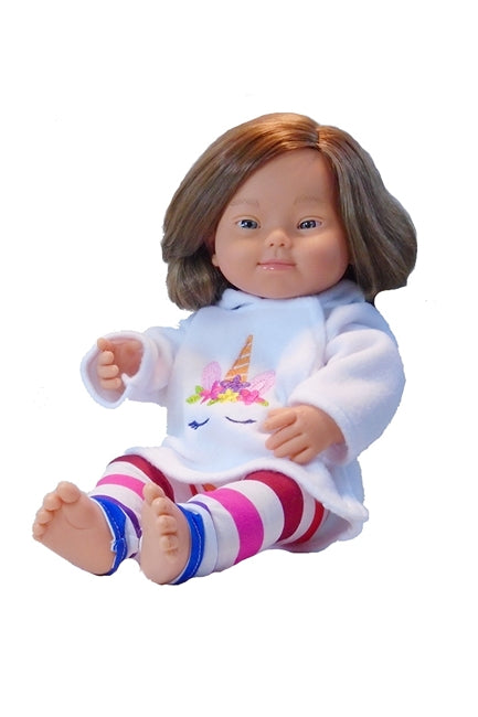 Cheryl our down syndrome doll shown in fleece unicorn hoodie and leggings.