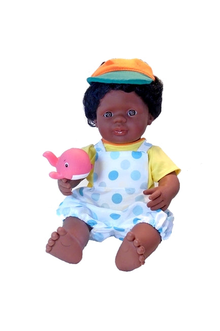 15 inch Black Boy doll in romper coveralls doll's outfit