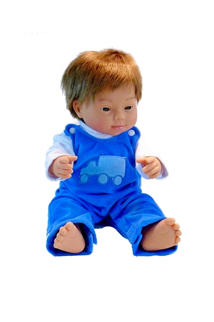 Eddie a down syndrome boy doll in 2 piece blue coveralls outfit