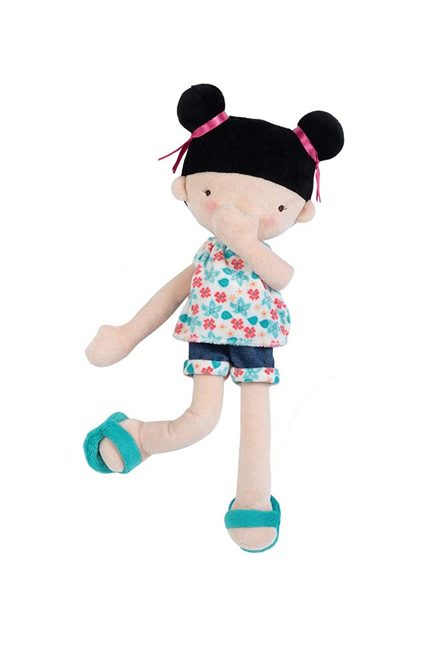 Soft Plush Asian rag doll wears sun sensitive color changeing bathing suit