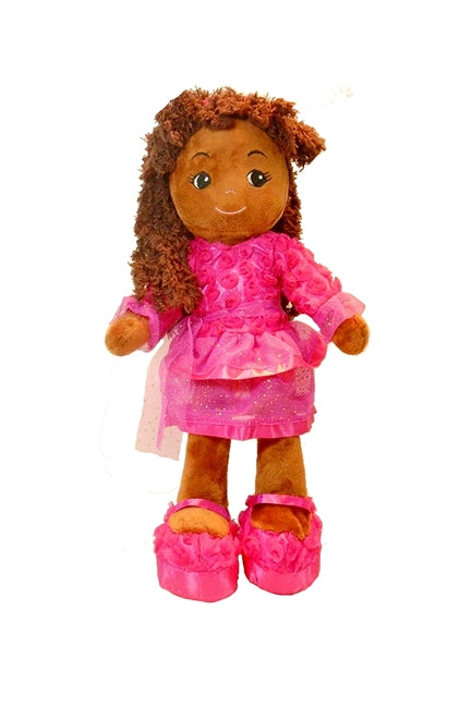 Black Rag Doll for girls with chenille hair Elana Roses Tutu