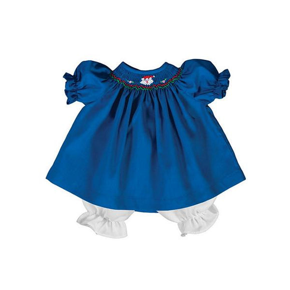 For 15 inch Dolls: Hand Smocked and Hand Embroidered Holiday Dress in Blue