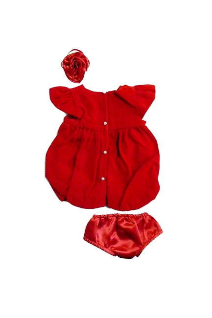 For 15 inch Dolls: Red Velvet Holiday / Party Dress with Pearl Buttons
