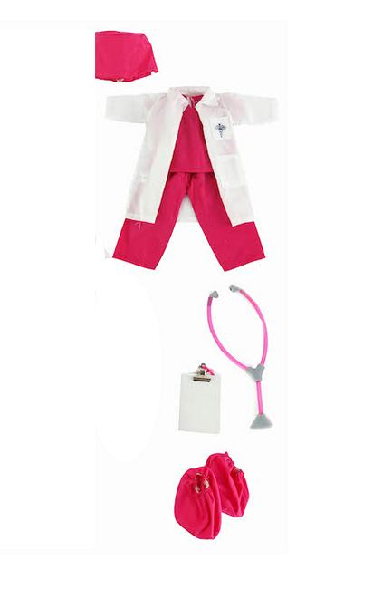 an 8 piece doctor's outfit for 14.5 inch dolls includes scrubs, lab coat stethoscope and more for dolls