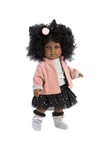 Beautiful Black Toddler Doll wit a full head of Natural hair.