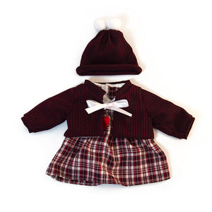 For 15 inch Dolls: Cranberry Plaids, a 3pc Sweater Set for Girl Dolls