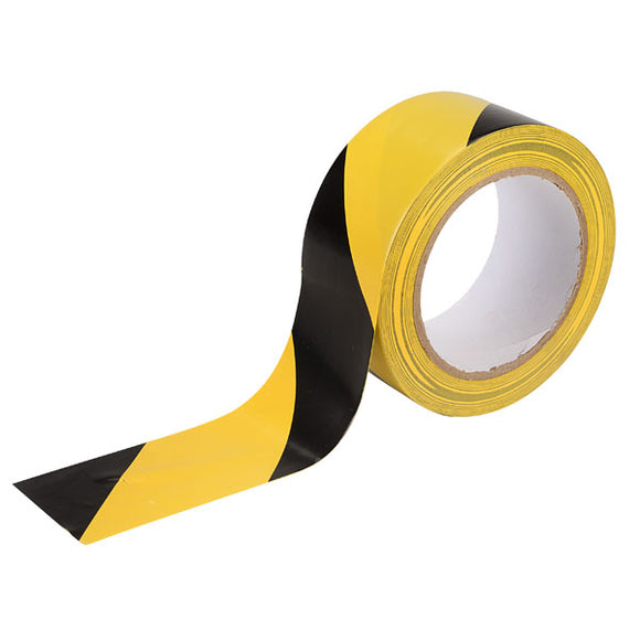 Hazard warning black and yellow safety tape 50 metres