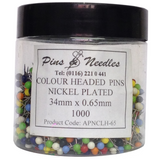 Tub Colour Headed Pins - 1000