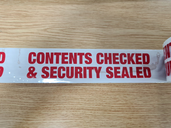 Contents Checked & Security Sealed Tape, Highly Visible & Identifiable