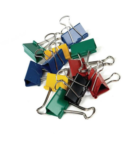 Foldback Clips, Coloured, Steel, to collate documents or loose papers, Stationery.