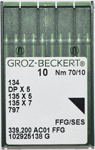 Industrial Lockstitch Needles 134R, 135x7, 135x25, DPx5 Groz-Beckert