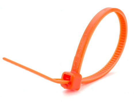 "Pack of Orange 100mm/4"" Cable Ties"