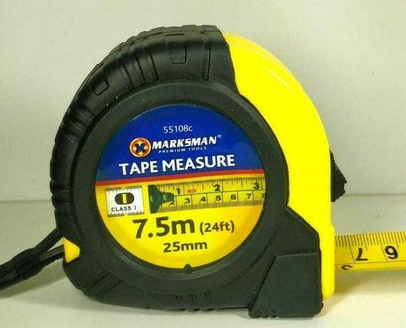7.5mt Retractable Rubberised Tape Measure easy lock & release, durable impact resistant