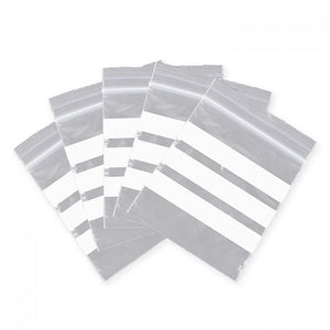 Grip Seal Resealable Bags - With Three Opaque White Write On Panels