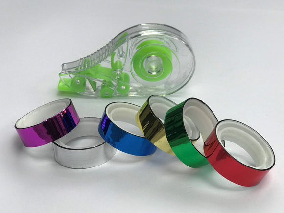 Metallic Rainbow Coloured Tape And Dispenser | Decorative Christmas Tape