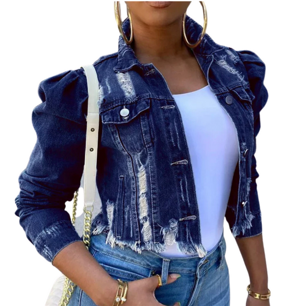 Ladies Natural Beauty Denim Jackets with Puffy Sleeve Ripped Fashion with Reflective Tiger Design