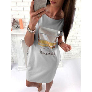 Cute Short Sleeve Letter Print Dresses Loose Plus Size Long T Shirts Dress
