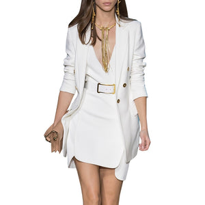 Unique Stunning Stylish Elegant Dress  Long Blazer Runway Dress Outfits