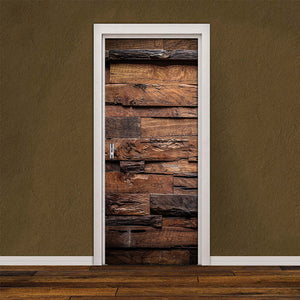 Self-adhesive 3D Removable Door Sticker Retro DIY Wood Pattern Door Cover