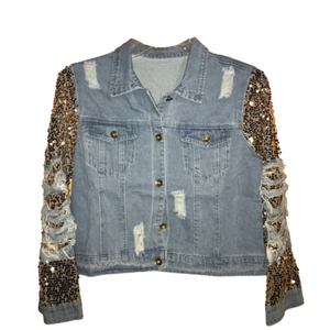 New Style Jean Jacket with Ripped Sequins Sleeves for Woman