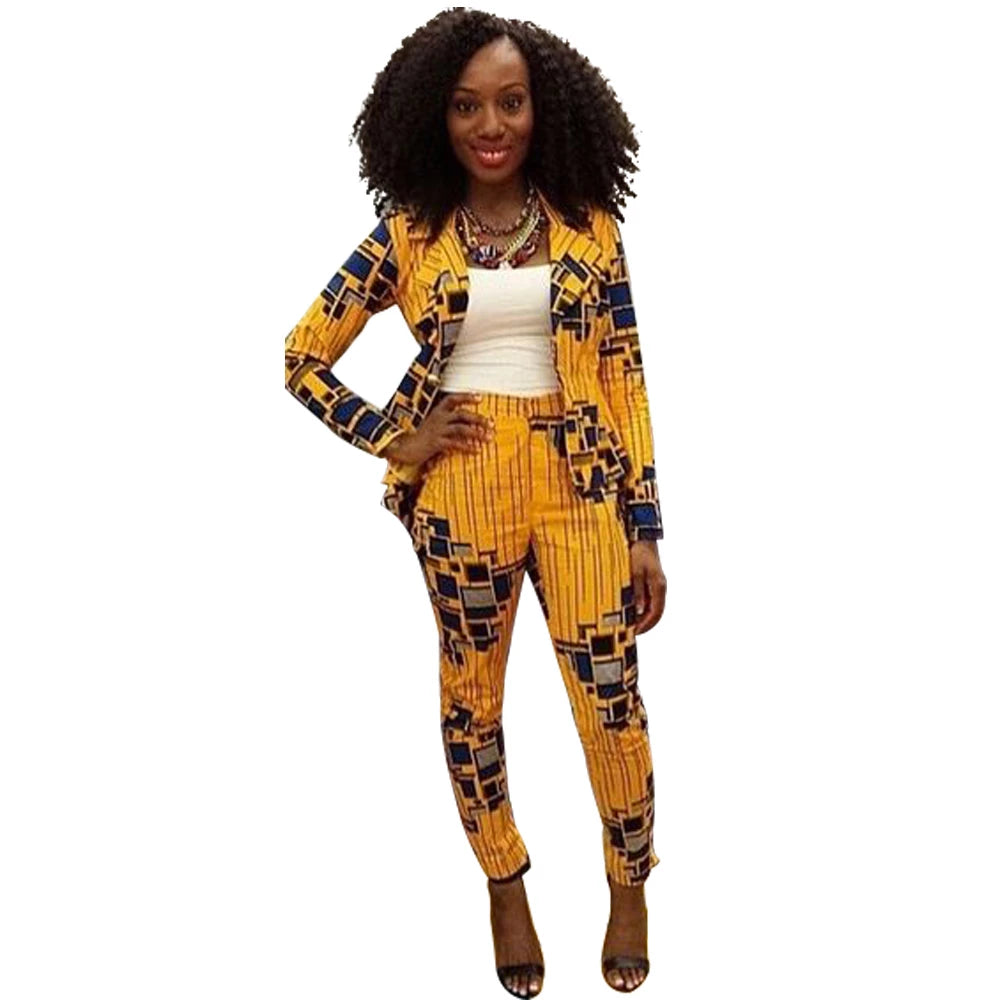 African Clothes For Women Set Fashion Jacket +Pant Ankara Cotton Batik Wax Fabric Traditional Clotnes Plus Size