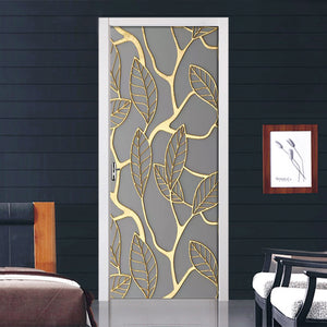 Creative 3D Golden Leaves DIY Home Decor Door Decal Self Adhesive Waterproof Sticker