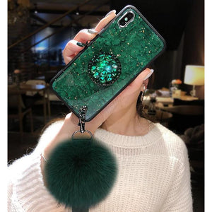 Gold Foil Glitter Bling case For iPhone X XR XS Max with Puff ball Lanyard Phone Cover case For iPhone 8 7 Plus 6S 6 Plus