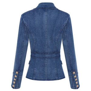 EXCELLENT QUALITY Stylish Lion Buttons Denim Blazer For Woman