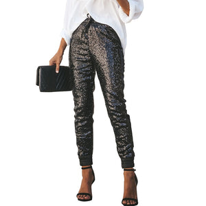Sexy Shiny Sequined Bodycon Pant Features High Waist and Tapered Legs