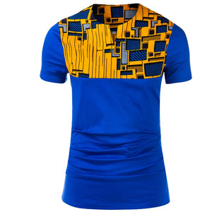 New Arrival Kenga African Print Short Sleeve Men Casual T-Shirt