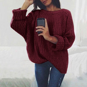 Solid  Color Loose Knitted Sweater for Autumn Winter Fashion