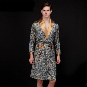 Luxurious Silk  & Satin Golden Dragon Bathrobe