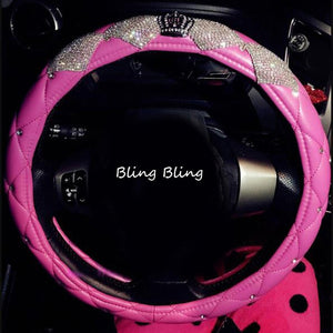 Luxury Diamond Crown Leather Steering Wheel Covers with Crystal Bling Bling Rhinestones