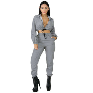 Sexy Reflective Tracksuit  Long Sleeve Crop Top With Long Casual Pants Suits