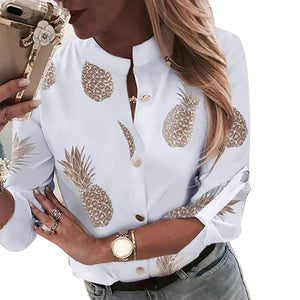 Pineapple Blouse Women's Ananas White Long Sleeve Elegant Blouse
