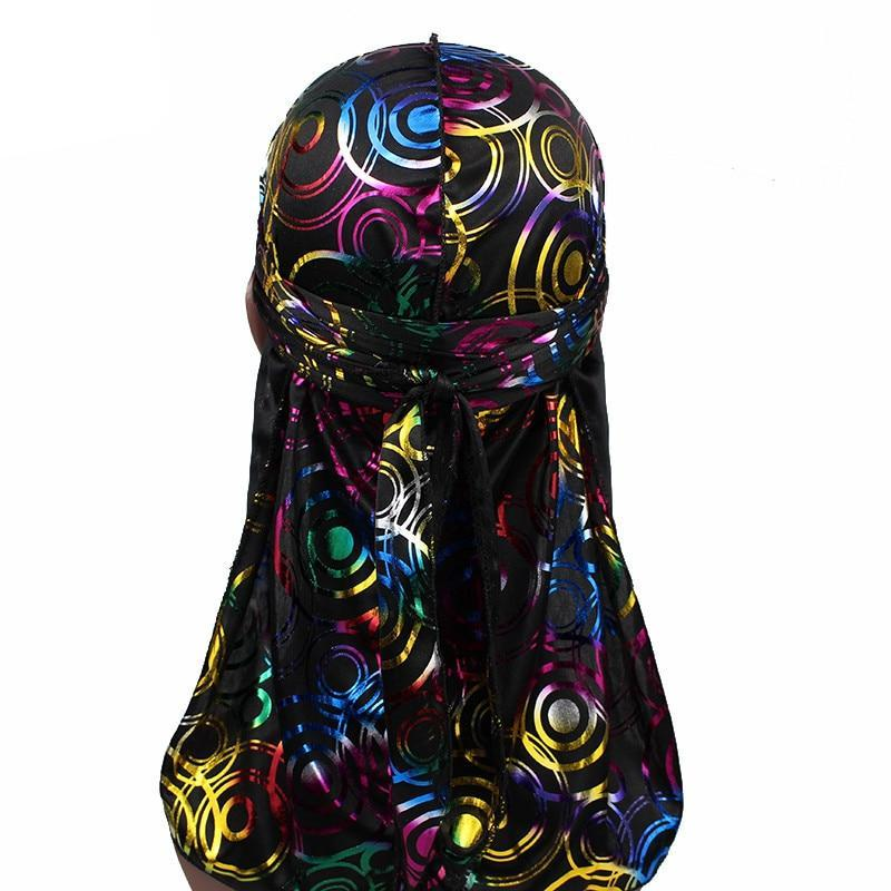 Silky Satin Durags Colorful Circle And Golden Printed Durags with Long Straps 😎