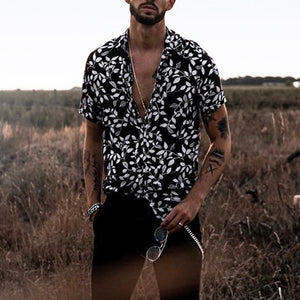 Slim Hawaiian Printed Men's Clothing Short Sleeve Shirt Men Casual Shirts