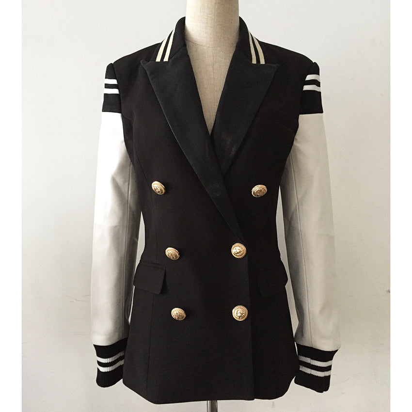 TOP QUALITY Newest Fashion Varsity Style Blazer for Ladies Leather Patchwork Double Breasted Jacket
